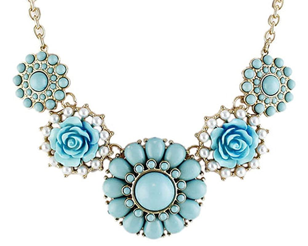 Gold Color Choker Blue Flower Necklace Women Chariot Trading