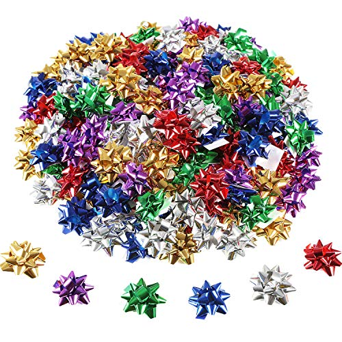 Tatuo 240 Pieces Mini Gift Wrap Bows Christmas Metallic Bows Self Adhesive Gifts Bows for Holiday Christmas Birthday Party Favor (Multi-Color) ()