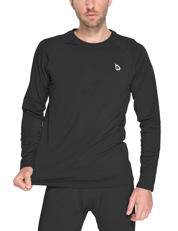 BALEAF Men's Heavyweight Thermal Shirt Fleece Baselayer Long Sleeve Crewneck Top Black XL by BALEAF