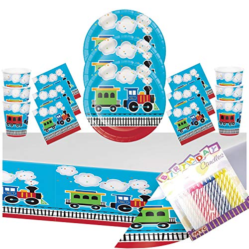 All Aboard Train 1st Party Supplies Pack Serves-16: Dinner Plates, Luncheon Napkins, Cups, Table Cover, and Birthday Candles