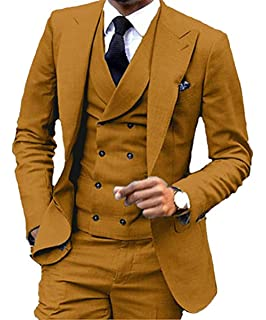 Suxiaoxi Mens Formal Double Breasted Velvet Vest Prom Waistcoat