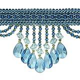 Expo International Isabella Scalloped Bead Fringe Trim, 10 yd, Ocean Blue