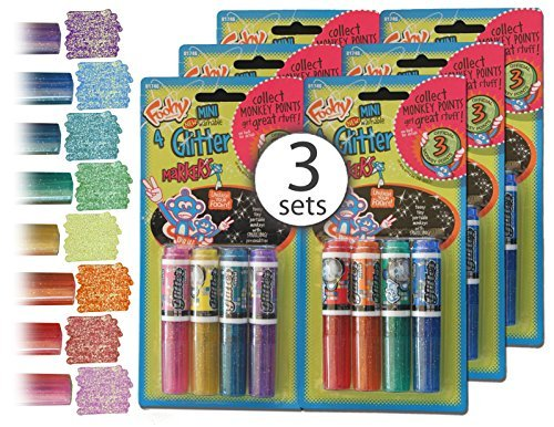 (Mini Glitter Markers Washable - Bulk - Discount Wholesale set of 3 Packs (8 colors per pack))