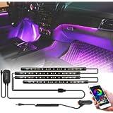 FOVAL Car Interior Lights , 60 LED(30×2, 2-line) APP Controller Car LED Strip Lights, Multicolor Music Under Dash…