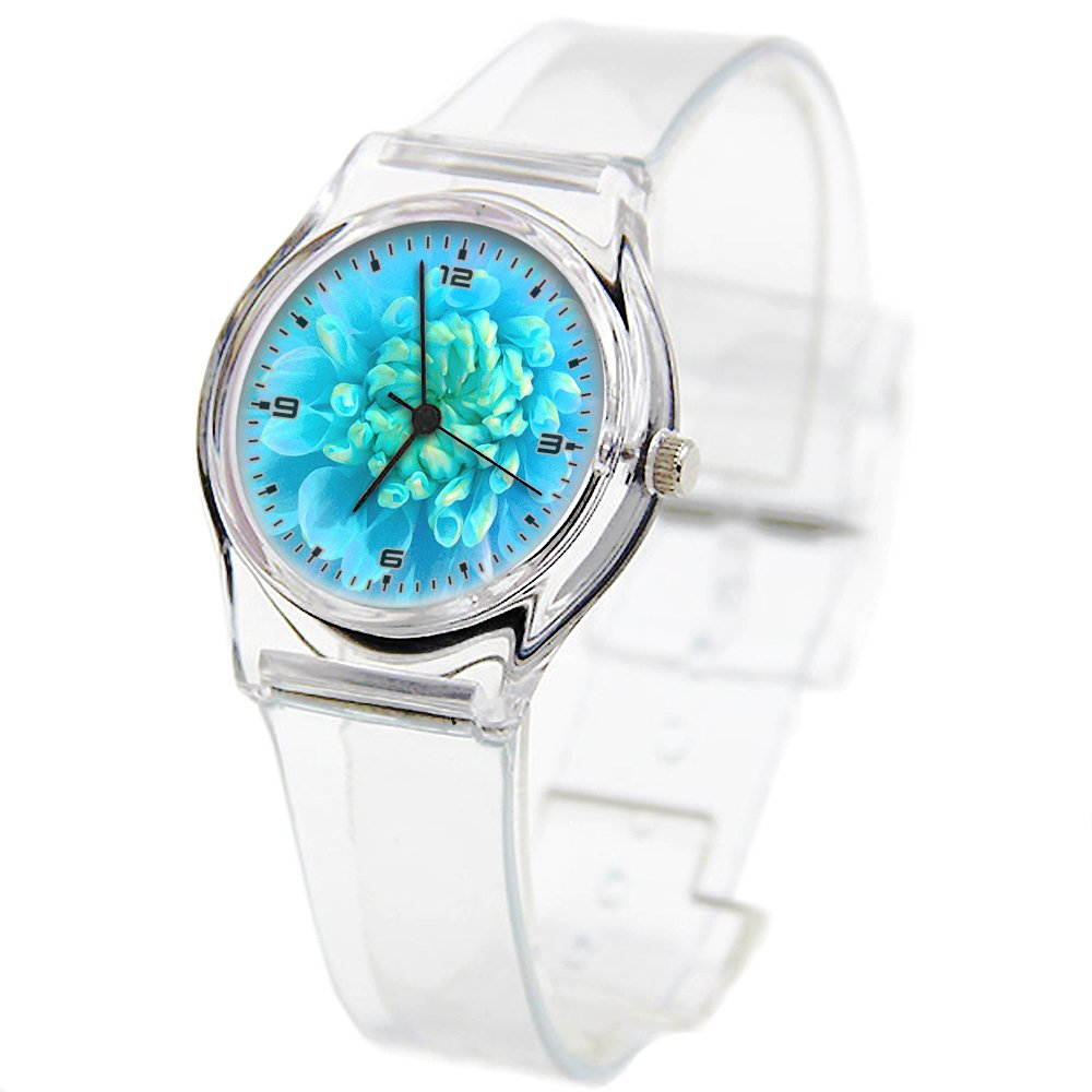 Personality Transparent Wristwatch Transparent Strap Summer Decoration Woman Child teacher Teen Young Girls Children Kids Watches Colorful Flower-490.Painted Turquoise Flower
