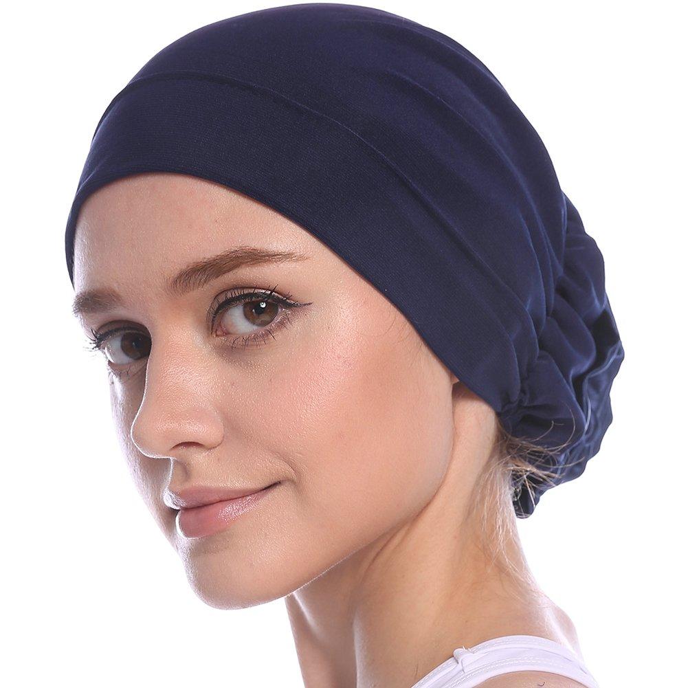 Biback Women Elegant Stretch Back Flower Pleated Muslim Turban Chemo Cancer Cap Hat