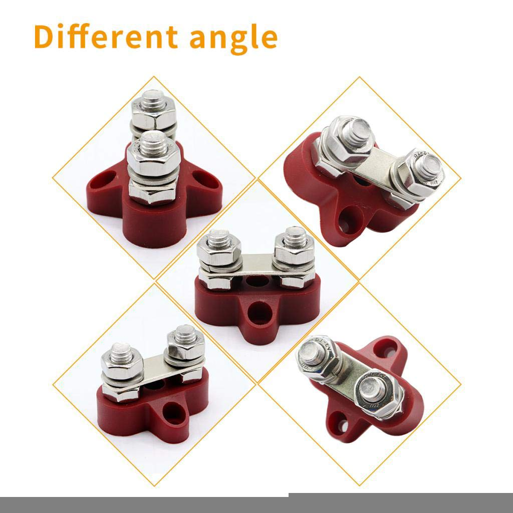 Red Insulated Dual Heavy Duty Power Distribution Junction Stud Post for Truck RV Boat Almencla 5//16 M8 Bus Bar Terminal Block