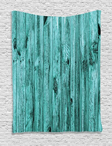 Ambesonne Turquoise Decor Tapestry Wall Hanging, Wall of Turquoise Wooden Texture Background Antique Timber Furniture Artful Print, Bedroom Living Room Dorm Decor, 60 W x 80 L Inches, Teal Antique Tapestry Fabric
