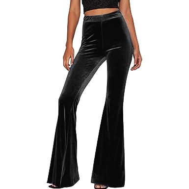 56e86cba96a LAEMILIA Womens Boho Comfy Stretchy Bell Bottom Flare Pants for Yoga Casual  Wear Velvet High Waist