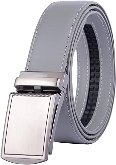 Men/'s Leather Ratchet Belt with Live Gator Automatic Buckle