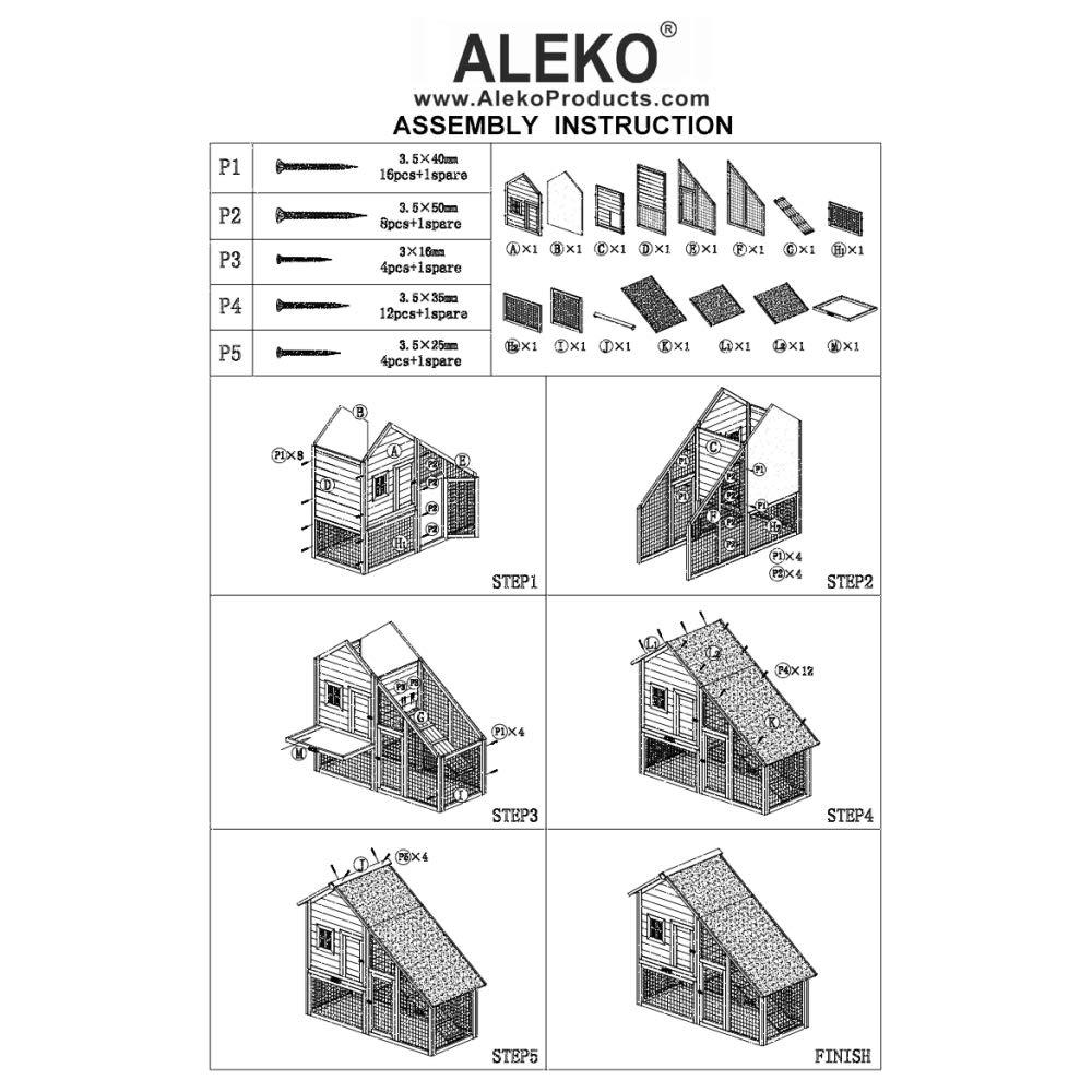 ALEKO ACCRH55X26X47 Wooden Pet House Chicken Coop Rabbit Hutch