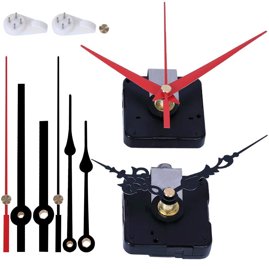 EMOON 2 Pack Wall Clock Movement Mechanism with 4 Pack Clock Hands, Silent Sweep Quartz Clock Motor Kit, for Clock Repair DIY Replacement, Custom Clock (Shaft Length 7/8 in)