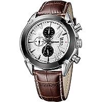 KKmoon Megir Branded New Fashion Man Watch Genuine Leather Band 3 Small Dials Quartz Wristwatch Analog Display Date Chronograph Black/Brown