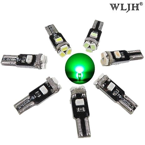 WLJH 10 Pack T5 3020 5SMD Tablero de instrumentos LED Tablero de instrumentos Bombilla LED verde