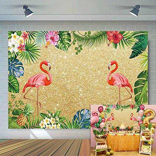 Allenjoy 7x5ft Golden Tropical Flamingo Aloha Summer Background Palm Leaves Hibiscus Flower Pineapple Hawaiian Luau Flamingle Party Banner Gold Glitter Birthday Backdrop Photography Photo Booth Props]()
