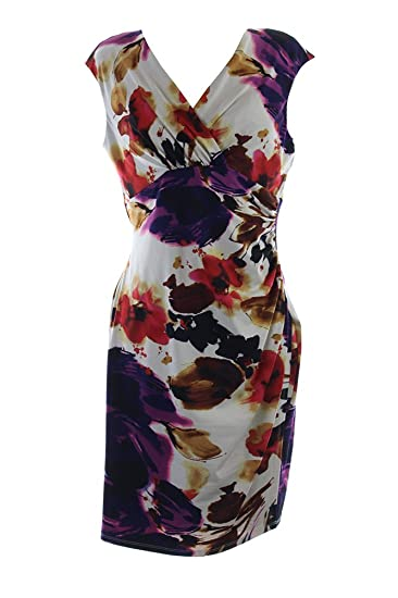 895dfa55688 RALPH LAUREN Lauren Women s Floral Faux Wrap Dress at Amazon Women s  Clothing store