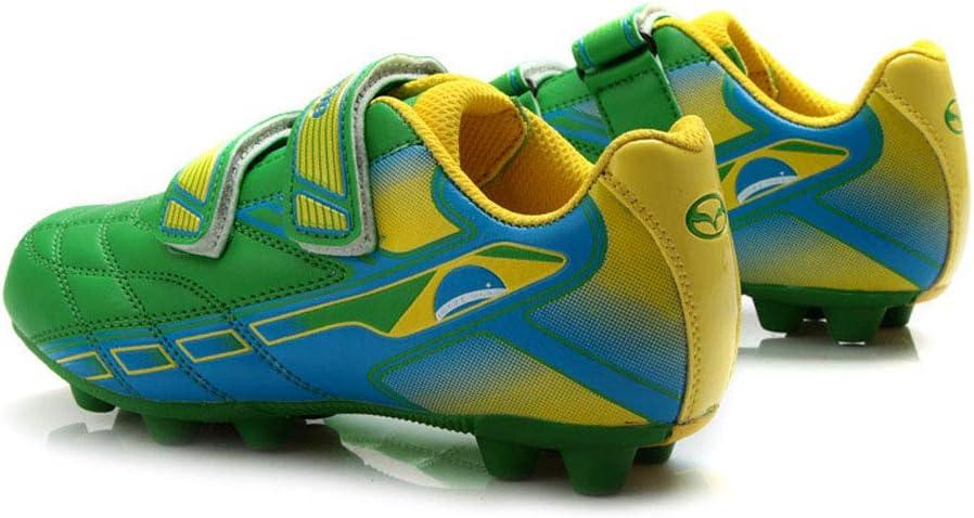 JJKK Coupe du Monde de Football Unisexe Adulte Formation Chaussures Indoor Football Chaussures Confortables Gar/çons de Football /étudiant Crampons Chaussures Sneaker,Bleu,28
