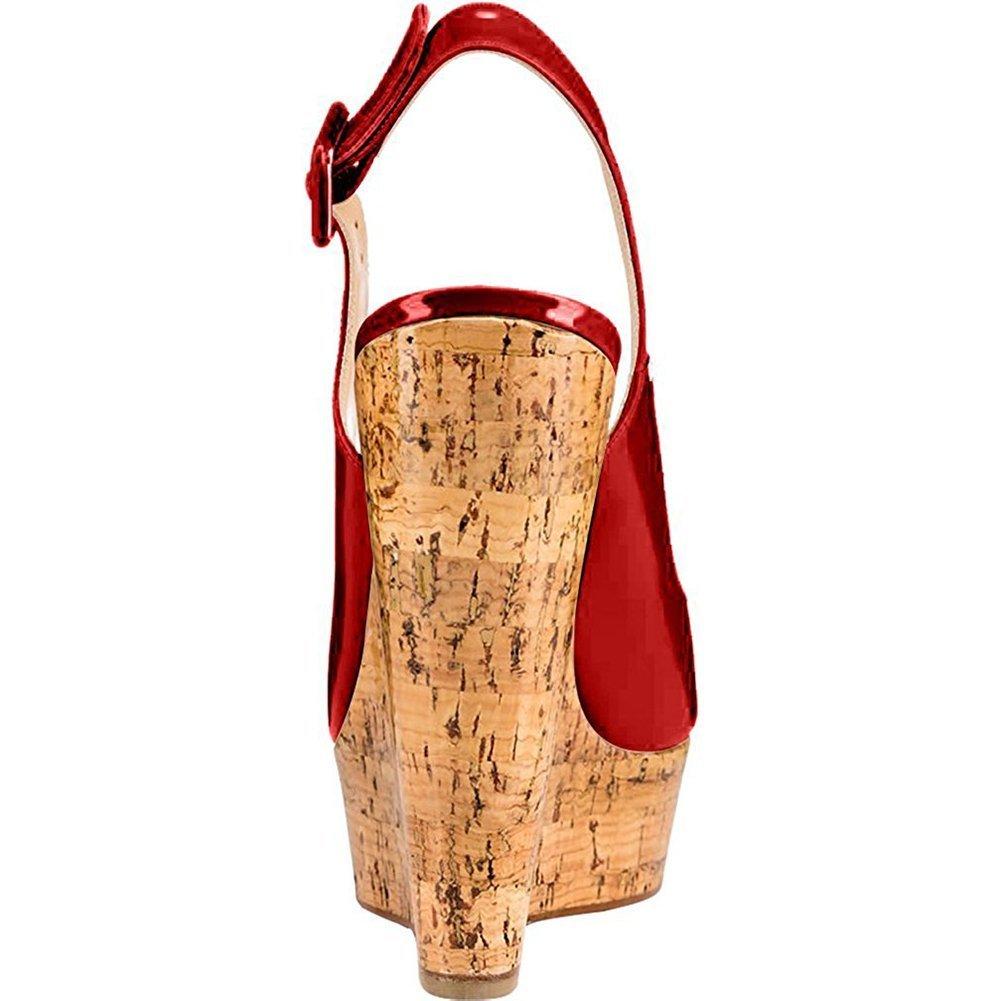 Mermaid Women's Shoes Peep-Toe Patent Leather Sling-Back Wedge Heeled Platform Sandals B07D61NZMQ US12 Feet length 10.82