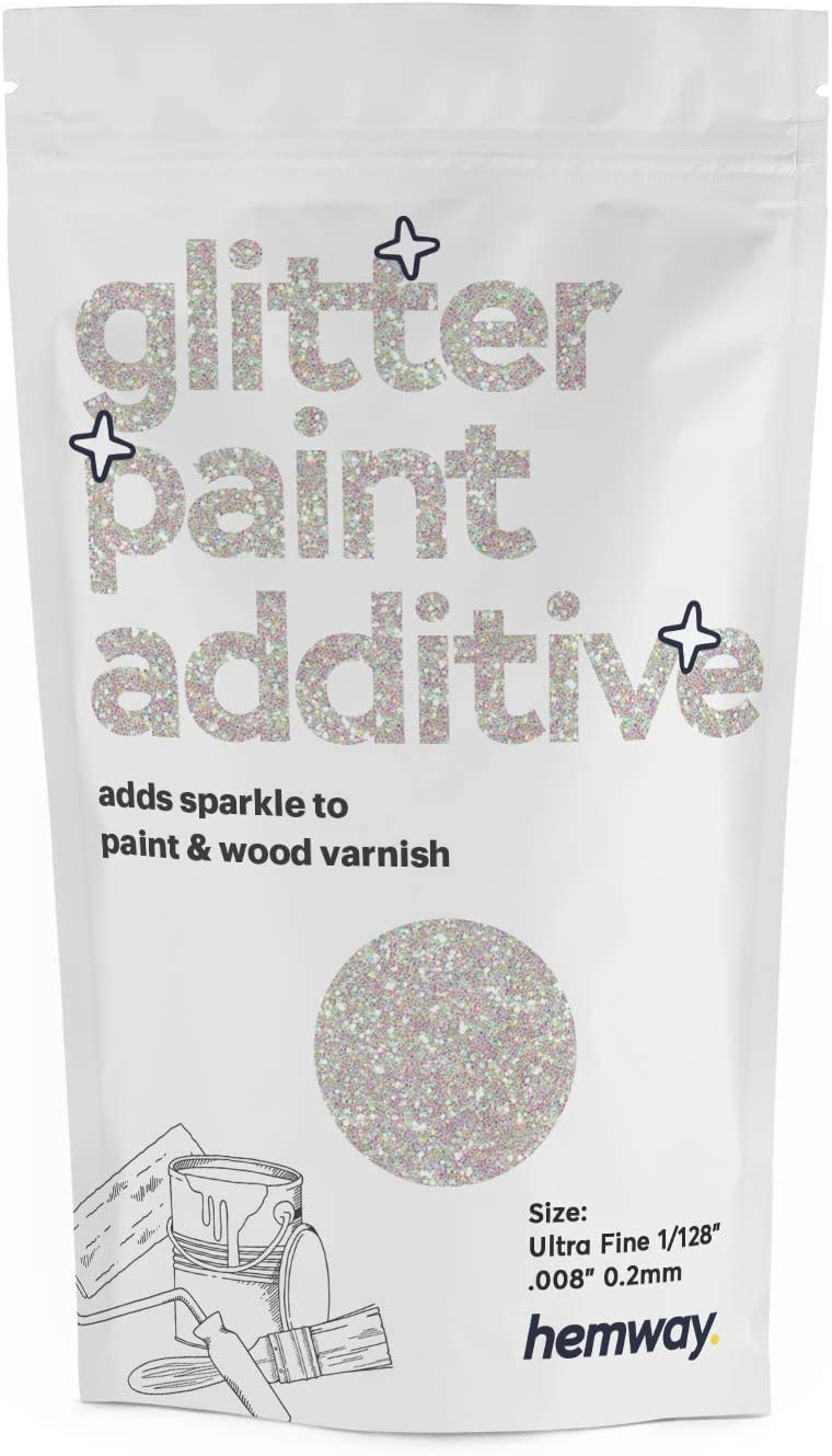 "Hemway Glitter Paint Additive Ultrafine 1/128"" .008"" 0.2MM Emulsion/Acrylic Water Based Paints Wall Ceiling 100g / 3.5oz (Mother of Pearl)"