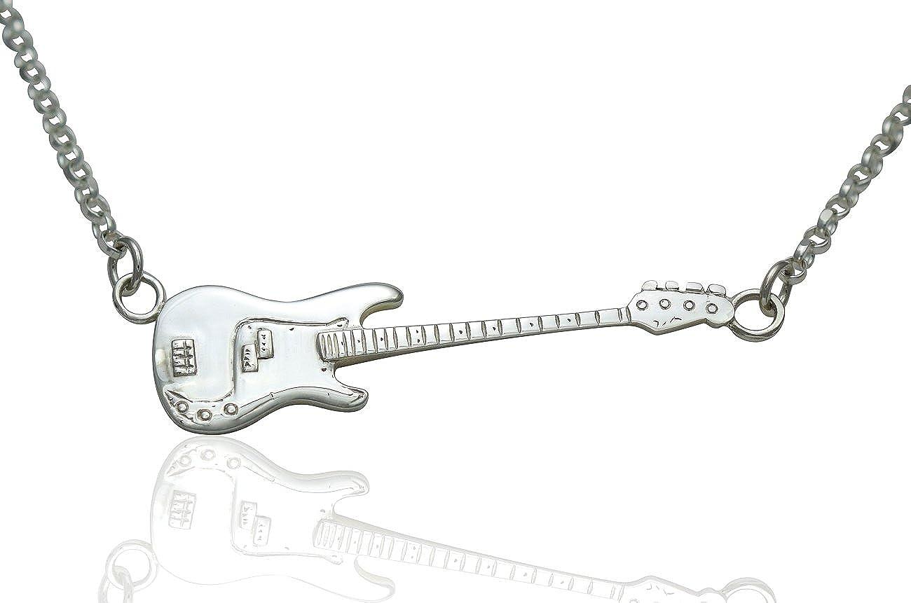 Grandes de plata de ley de Defensa de precisión deleitación colgante y cadena del collar de regalo para guitarristas de jugadores y músicos. Elegir - Horizontal o Vertical