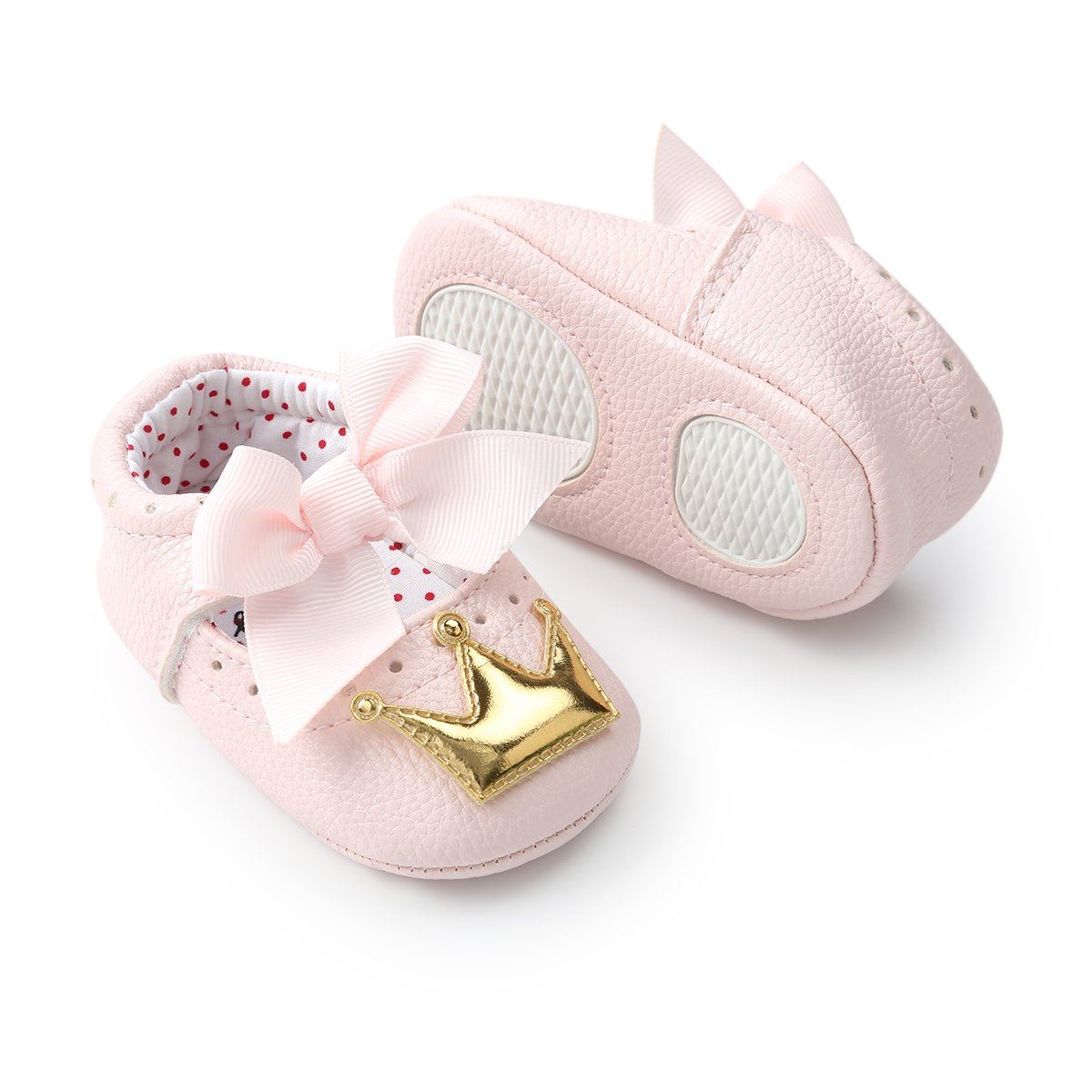Infant Toddler Girls Birthday Shoes Soft Sole Anti-Slip Party Dress Shoes Prewalker with Crown Headband