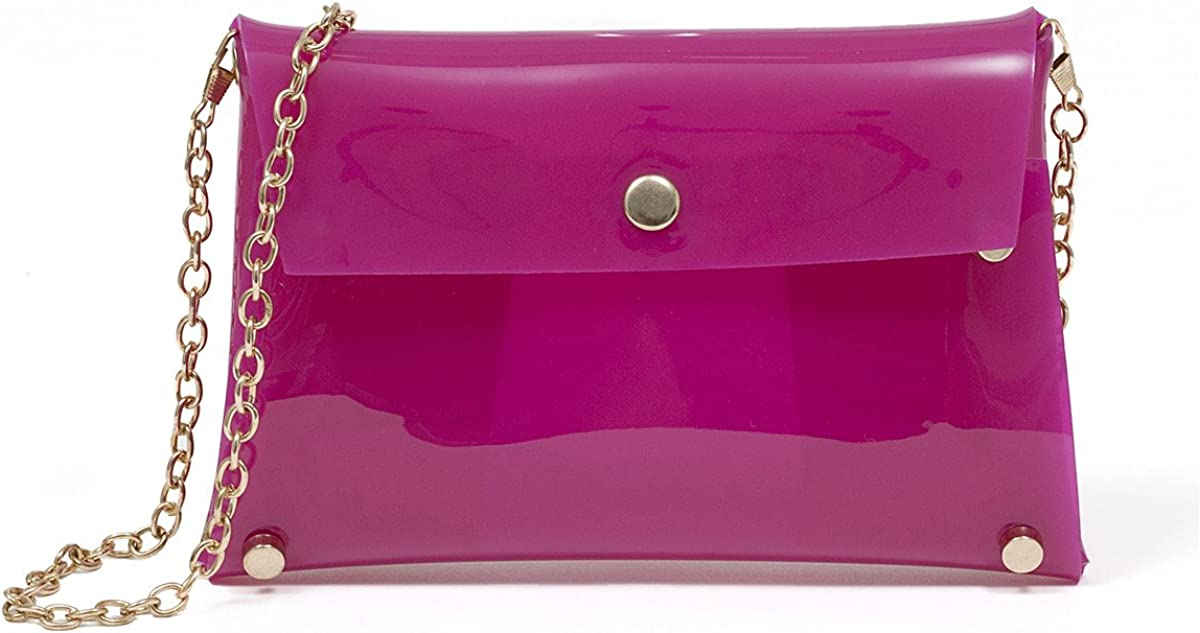 Zarapack Women s Candy Neon Color Transparent Jelly Bag Silicone Case Cross Body Messenger Bag