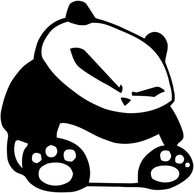 "Fat JDM Panda - Vinyl - 4"" tall (Color: BLACK) decal laptop tablet skateboard car windows stickers"