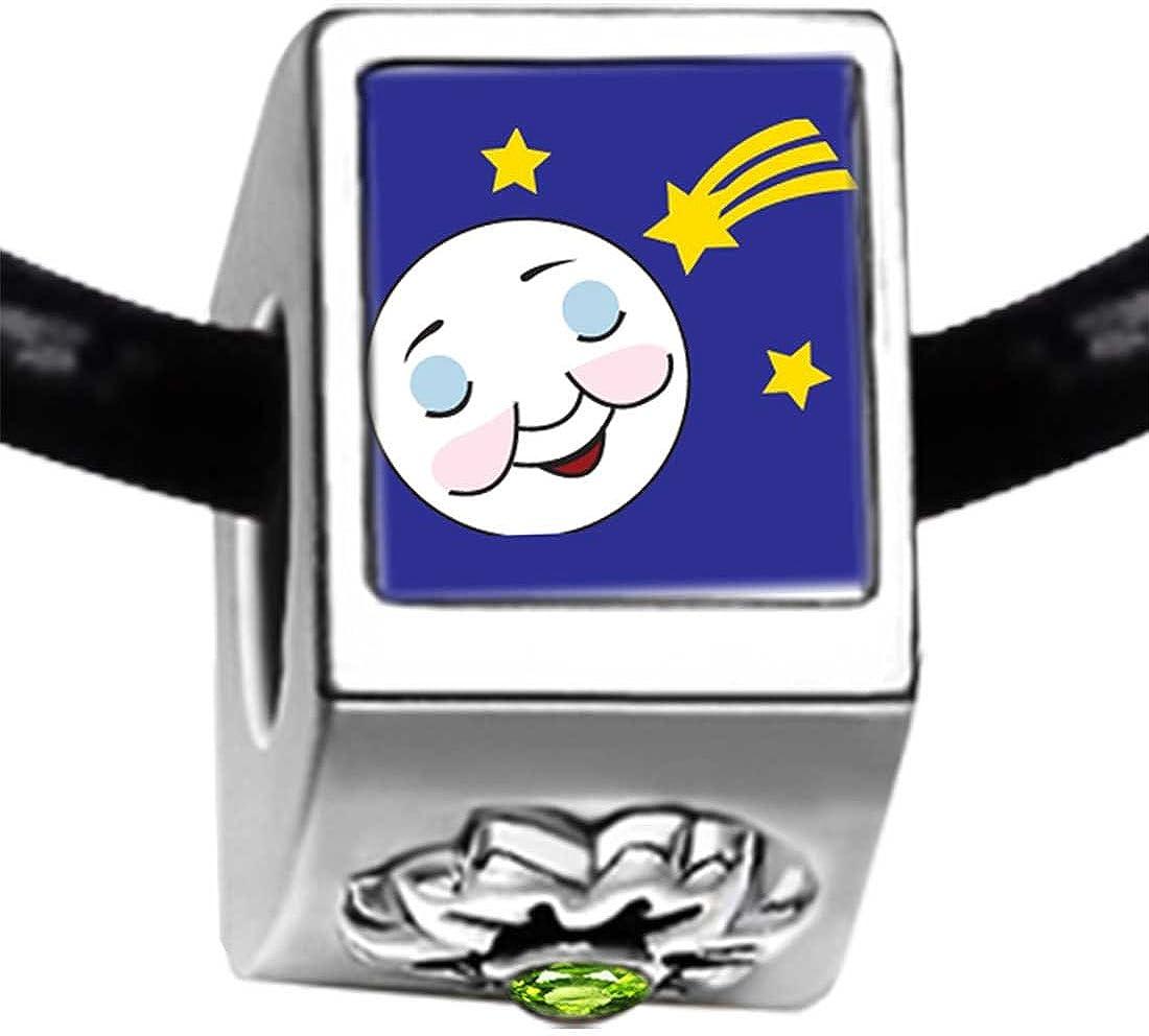 GiftJewelryShop Sleep Tight Moon and Star Photo Peridot Crystal August Birthstone Flower Bead Charm Bracelets