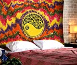 The Indian Craft Yin Yang Psychedelic Tapestry Wall Hanging Hippie Mandala Tie Dye Tapestries Wall Decor Boho Bohemian College Dorm Picnic Camping Beach Throw Decorative Twin Cotton Bedding