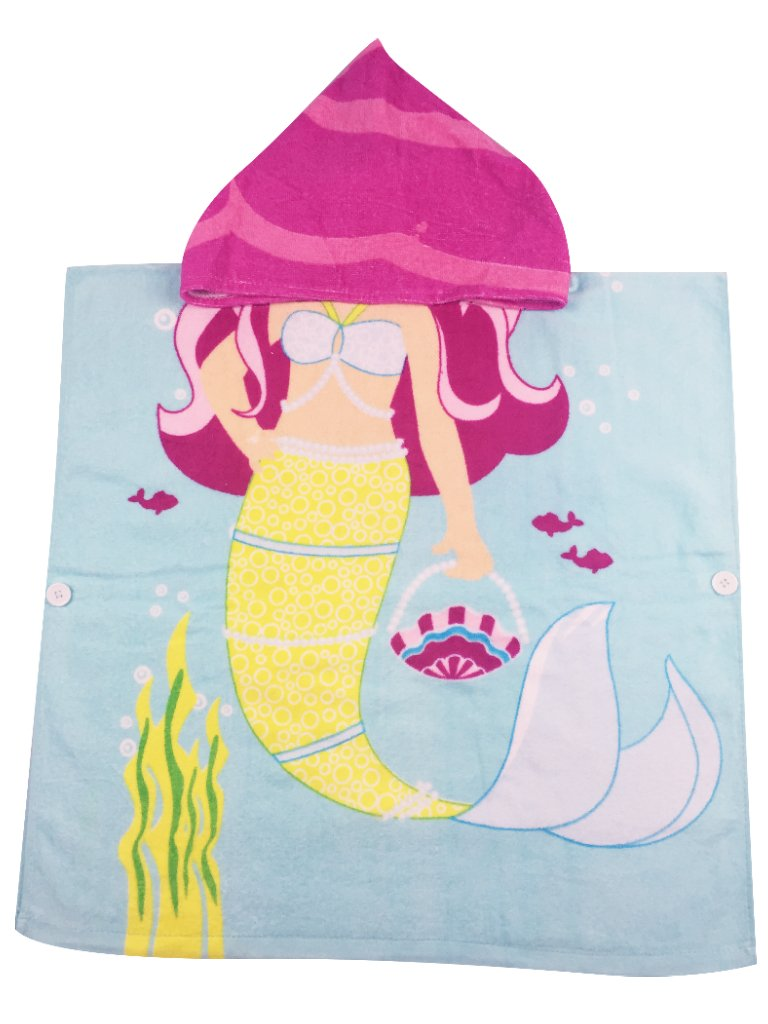 Mermaid Hooded Towel for 1-5 Years Girls Blue Yellow Pink Sea-maid Kids Beach Poncho Bath Robe With Hood