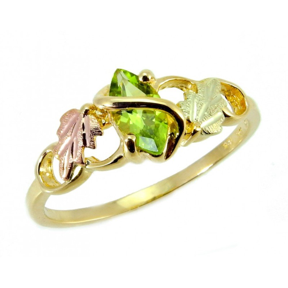 Marquise Peridot Slim Profile Ring, 10k Yellow Gold, 12k Green and Rose Gold Black Hills Gold Motif, Size 7