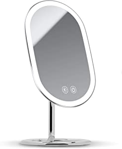 Fancii LED Lighted Vanity Makeup Mirror, Rechargeable - Cordless Illuminated Cosmetic Mirror with 3 Dimmable Light Settings, Dual Magnification and Adjustable Chrome Stand (Vera)