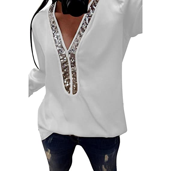 Manga Larga de Lentejuelas Sexy Mujeres de Moda Blusas con Cuello en V Blusa Casual Camiseta
