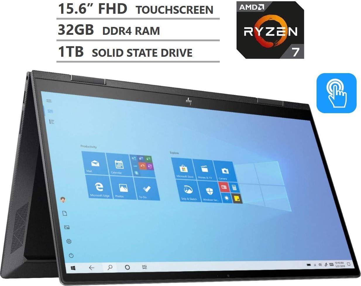 2020 HP Envy X360 2-in-1 15.6 Inch Touchscreen Laptop (AMD Quad-Core Ryzen 7, AMD Radeon RX Vega 10, 32GB RAM, 1TB SSD, Backlit Keyboard, WiFi, Bluetooth, HDMI, Windows 10 Home) (Black)