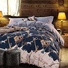 100% Cotton Sanding Fabric Bedding Horse Duvet Cover Plaid Design Bedding Set Solid Color Duvet Cover Set King Size,without Comforter (BH5)
