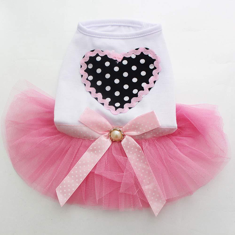 Fliyeong Premium Quality Pet Skirt Small Puppy Dog Princess Dress Lace Skirt Yarn S,Pink Pet Supplies