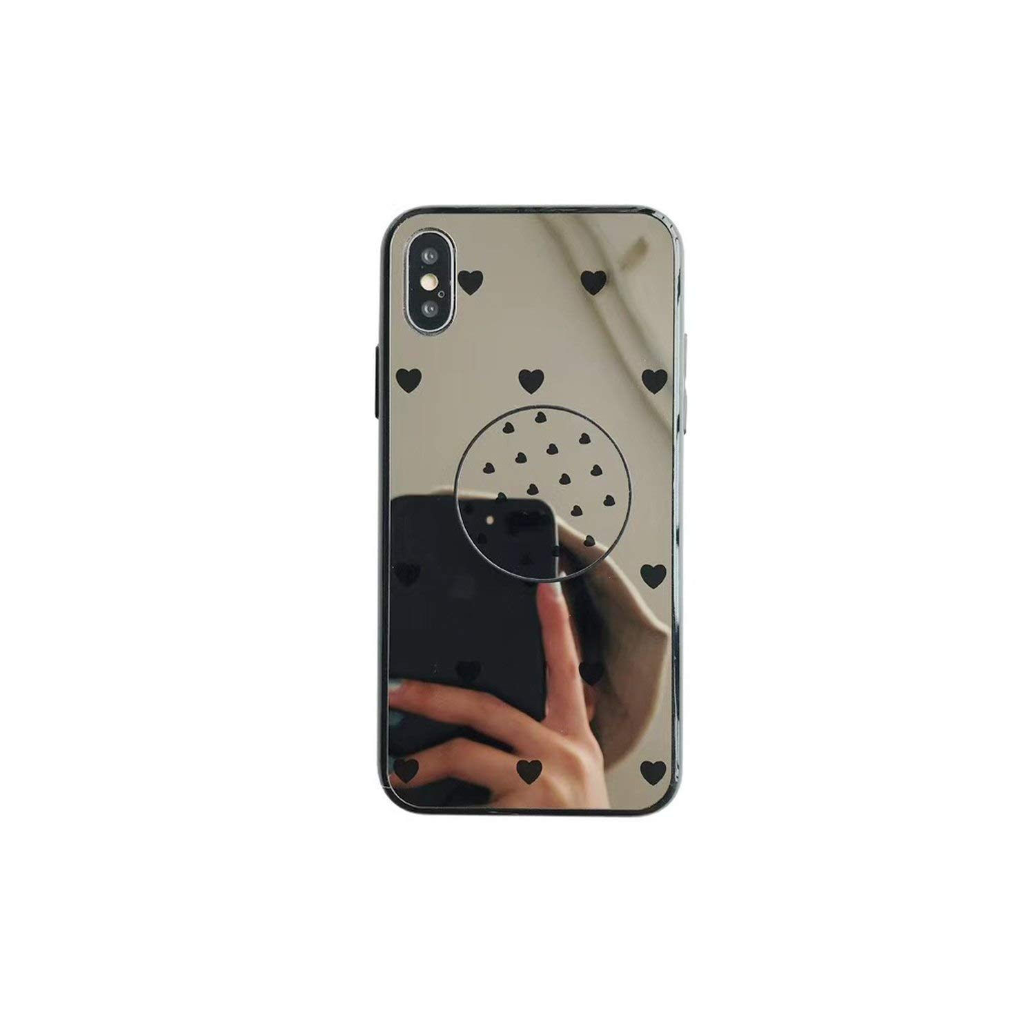 Amazon.com: Luxury Mirror Phone Case with Ring Phone Holder for iPhone Xs 8 8Plus 7 7Plus 6 6Plus XR Heart Geometric Plain Back Phone Cover,C,for iPhone ...