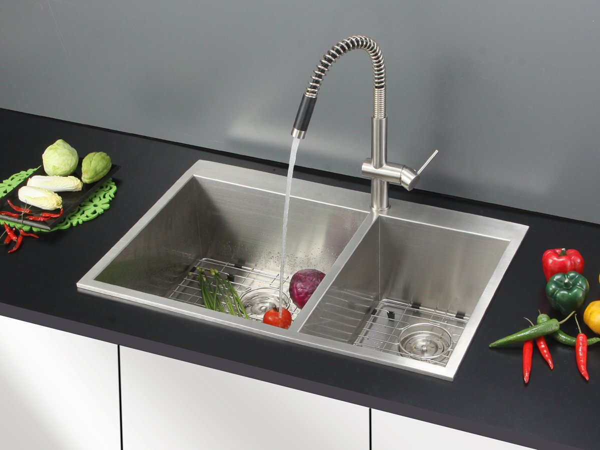 Ruvati RVH8050 Drop In Overmount 16 Gauge Double Bowl Kitchen Sink