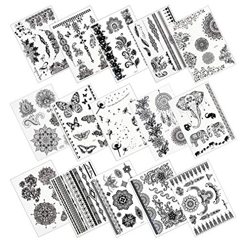 Nydotd 15 Sheets Temporary Tattoos Stickers, Waterproof Fake Tattoos Body Art Stickers Fake Body Arm Chest Shoulder Tattoos for Women