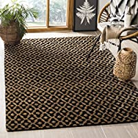 Safavieh Bohemian Collection BOH315A Hand-Knotted Black and Gold Jute Area Rug (5 x 8)