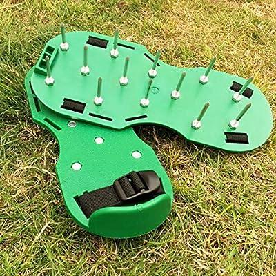 Panamami Picos de césped Zapatos de aireador de césped uñas de jardín Herramientas de jardín Zapatos de Suelo Suelto desgarrador portátil Duradero Conveniente - Verde: Amazon.es: Jardín