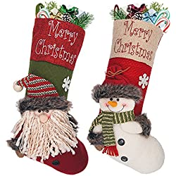 "LimBridge 18"" Large 3D Burlap Christmas Stockings for Kids, 2-Pack, Cute Santa & Snowman"