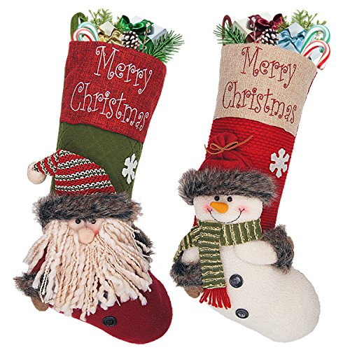 LimBridge Christmas Stockings, 2 Pack 18 inches Large 3D Burlap Xmas Stockings for Kids, Cute Santa and Snowman