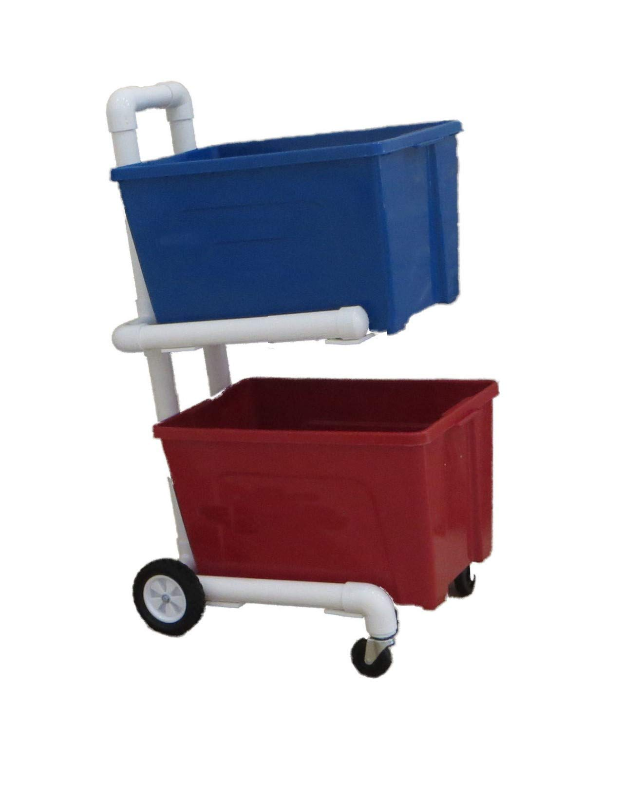 Recycling Cart - 4 Wheels and Shelves - 2'' PVC - Heavy Duty - Easy Assembly - No Tools Required - Florida Weatherproof