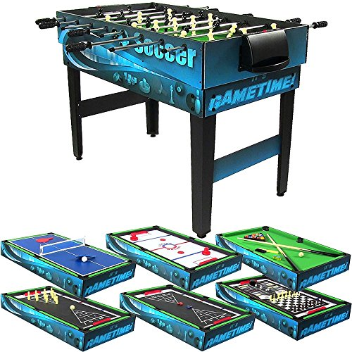 (Sunnydaze 10 Combination Multi Game Table with Billiards, Push Hockey, Foosball, Ping Pong, and More, 40 Inch)