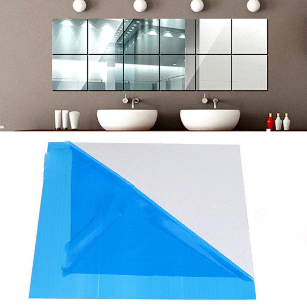 Wall Sticker Square Self Adhesive 9X Mirror Tile Room Decor Stick On Modern Art