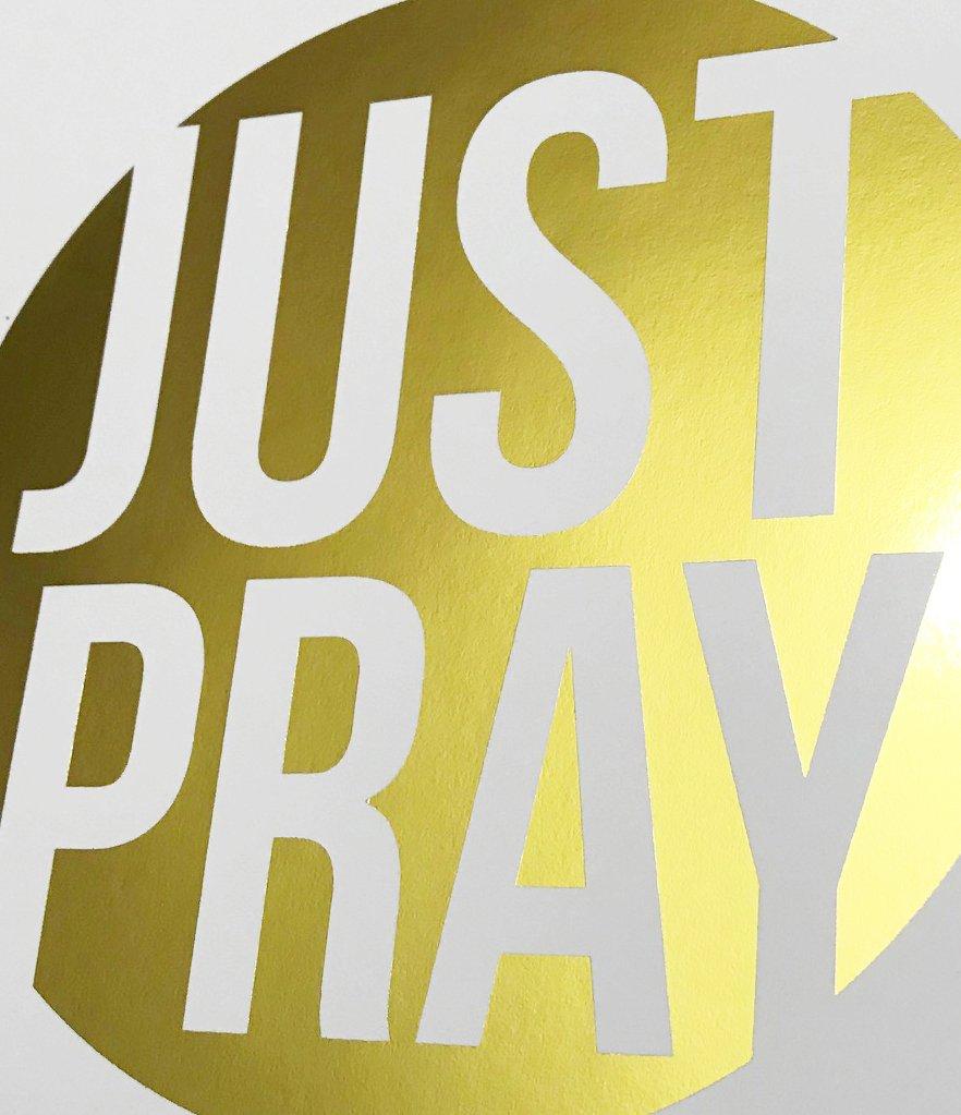 Amazon.com: Just Pray Gold Foil Print Poster Christian Religious Art ...