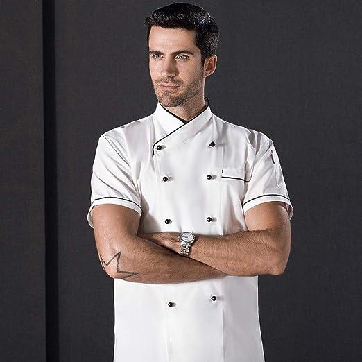 Gracorgzjs Bianco Cucina Tuta da Cuoco a Maniche Corte a Doppio Petto per Costume da Chef Hotel Medium Ristorante