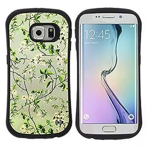 """Pulsar iFace Series Tpu silicona Carcasa Funda Case para Samsung Galaxy S6 EDGE , Positivo Flores felices Focus verde"""""""
