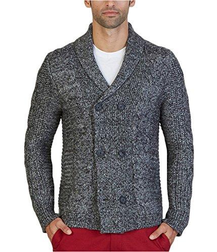 Shawl Collar Sweater Coat - Nautica Men's Long Sleeve Textured Shawl Collar Double Breasted Peacoat Sweater, True Black, Large